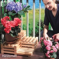 show off your gardening skills with this simple multi-level plant stand. it's easy to build from seven 8-ft.-long 1x2s.