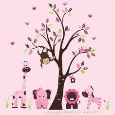 "Baby Nursery Wall Decals Safari Jungle Children's Themed 85"" X 95"" (Inches) Animals Trees Wildlife: Made of Wall Fabric Material Repositional Removable Reusable by StickEmUpWallArt, http://www.amazon.com/dp/B00BI5WHMU/ref=cm_sw_r_pi_dp_HQntsb09QKKKK"