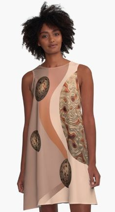 RUSTIC ABSTRACT #2. A-Line Dress Designed by sana90 Designer Dresses, Women's Fashion, Rustic, Tank Tops, Abstract, Clothing, Fabric, Country Primitive, Tela