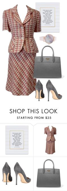 """""""bag"""" by masayuki4499 ❤ liked on Polyvore featuring SS Print Shop, Bill Blass, Gianvito Rossi and Prada"""