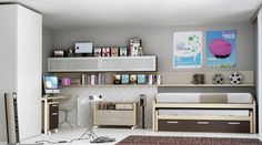 Elegant Bedroom Decoration Idea With Space Saving Trundle Bed And White Ceiling Height Cupboard And Modern Computer Desk And Gray Wall Paint Color