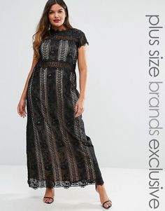 Truly You | Truly You Paneled Lace Maxi Dress With Cap Sleeve