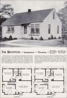 1940 Aladdin Kit Homes - The Brockton I like that the kitchen and living room are on the same side - good potential lake layout (with bigger windows)