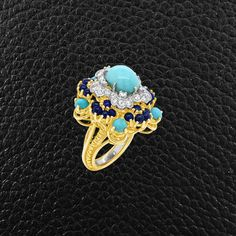 Turquoise, Lapis & Diamond Estate Ring