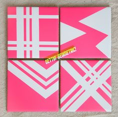 DIY: Easy geometric tile coasters! All you need is a few basic tiles from your local hardware store, a lil' spray paint and tape! A little glitter on the edges would be darling too!