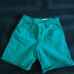 """Vintage 90s jean shorts A bright kind of aqua/turquoise green.   About 15"""" waist and about 7.5"""" inseam. An about 12"""" leg opening.  5 pockets. 100% cotton Contempo Casuals Other"""