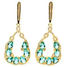 EARRINGS LIGHT BLUE AQUAMARINE GOLD PLATED