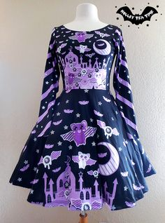 ☆ Spooky Bats ☆ Long Sleeve Skater Dress ☆ Made To Order ✧ Creepy cute, Kawaii, Pastel Goth, Harajuku Fashion, Halloween, Stripes sold by Holley Tea Time. Shop more products from Holley Tea Time on Storenvy, the home of independent small businesses all over the world.
