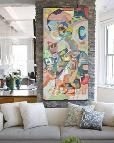 Www.etsy.com/shop/blochs New original abstract painting by Madison Bloch four feet by two feet.