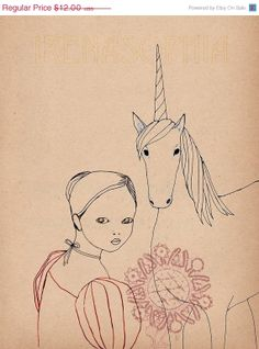 SALE Looking Back Unicorn SMALL print of original by IrenaSophia, $9.00