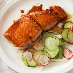 Broiled Salmon with Gingery Cucumber Salad