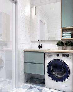 Este posibil ca imaginea să conţină: interior Washroom Design, Laundry Room Design, Home Room Design, Bathroom Design Small, Bathroom Layout, Bathroom Interior Design, Apartment Interior, Apartment Design, Home Interior