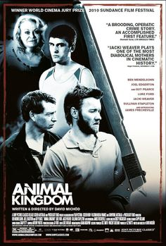 Directed by David Michôd. With James Frecheville, Guy Pearce, Joel Edgerton, Bryce Lindemann. A seventeen year-old navigates his survival amongst an explosive criminal family and the detective who thinks he can save him. Animal Kingdom Film, Kingdom Movie, Great Films, Good Movies, Melbourne, Sullivan Stapleton, Joel Edgerton, Imdb Movies, 2017 Movies
