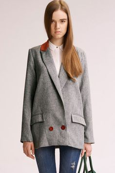Retro Shaping Shoulder Pads Grey Suit