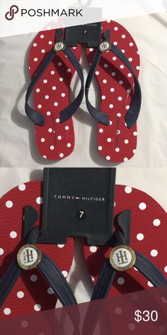 c93d38f26 Brand new Tommy Helfiger flip-flop Brand new Tommy Hill figure flip-flop Red  white and blue polkadot Ladies size 7 Tommy Hilfiger Shoes Flats   Loafers
