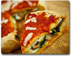 Stuffed pizza (spinach and mushroom) recipe