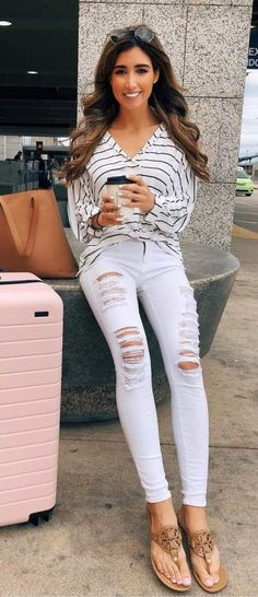 Gorgeous V-Neck Striped  top  amp   white  distressed  jeans   7e7efb37b87