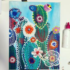 Cactus with acrylic paints Cactus painting painting # Cool painting painting . Cactus Painting, Night Painting, Flower Painting, Art Painting, Watercolor Paintings, Acrylic Canvas, Cool Paintings, Painting Art Projects, Canvas Painting
