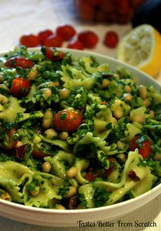 Tastes Better From Scratch: Spinach, Cilantro, Avocado Pasta Salad