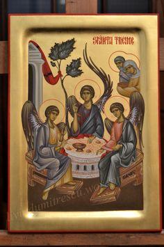 Icoana Sfanta Treime Byzantine Art, Byzantine Icons, Religious Icons, Religious Art, Entertaining Angels, Church Icon, Saint Michel, Icon Collection, Art Icon