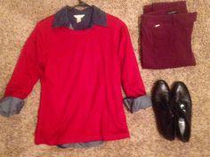Fall Work: Pendleton red wool sweater, Banana Republic dark denim button up, White House Black Market eggplant pants, AGL black oxfords