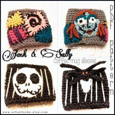 Nightmare Before Christmas ~ Jack and Sally ~ Coffee Mug Sleeves ~ Crochet Pattern ~ PDF Pattern ~ Jack Skellington Crochet ~ Sally Stitches by UrbanFunke on Etsy https://www.etsy.com/listing/209638511/nightmare-before-christmas-jack-and