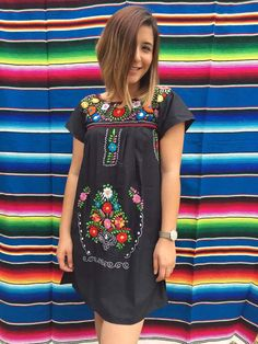 Mexican dress mini tunic embroidered mexican party day of the dead cinco de mayo bridesmaid dress mexican wedding frida kahlo halloween by Miamorcitocorazon on Etsy