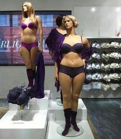 """A Dept store Sweden introduced these normal-size mannequins. Instead of size 00, these gals are a size 12 and 16. Some are saying they """"condone obesity."""" Pfft, the average woman is a size 14."""