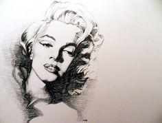 Marilyn Monroe Portrait. Artist: Michael Damico   This image first pinned to Marilyn Monroe Art board, here: http://pinterest.com/fairbanksgrafix/marilyn-monroe-art/    #Art #MarilynMonroe