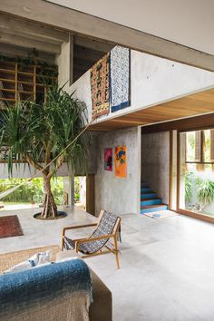 A Brutalist Tropical Home in Bali, Indonesia – Design. A Brutalist Tropical Home in Bali, Exterior Design, Interior And Exterior, Interior Modern, Exterior Colors, Interior Paint, Concrete Houses, Paint Concrete, Tropical Houses, Tropical Decor