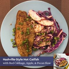 Nashville-Style Hot Catfish with Red Cabbage, Apple, & Pecan Slaw #blueapron