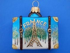 FRANCE LUGGAGE EUROPEAN BLOWN GLASS CHRISTMAS ORNAMENT FRENCH VACATION SUITCASE