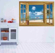 Beach Window View Removable Wall Stickers Vinyl Decal Home Decor Deco Art DIY