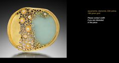 Judith Kaufman.  Brooch.  Aquamarine, 22kt gold, diamonds, 18kt green gold.