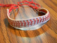 Bracelet handmade from baseballs! I make these for family members, my sister has been wearing hers for over a year. Cute gifts for the baseball or softball lover.     I have a few made already, but after that I will make them as I need to. Please allow a couple days for me to make them if you wan...