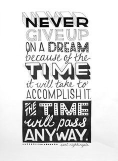Inspirational quote : Never give up on a dream because of the time it will take to accomplish it. The time will pass anyway. Earl Nightingale, Happy February, Always Learning, Lessons Learned, Positive Thoughts, Positive Quotes, Bible Quotes, Bible Verses, Never Give Up
