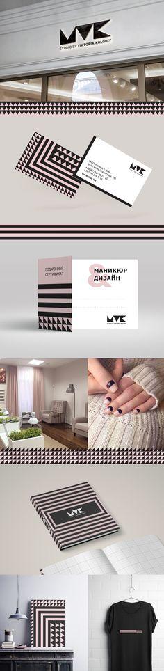 Разработка концепции фирменного стиля для мастерской ногтевого сервиса MVK. Элементы фирменного стиля содержат несколько цветов черный и грязно-розовый. Основным элементом знака является треугольник, ассоциирующийся с маникюрными щипчиками, ножничками, луночкой ногтя. Данный элемент и является составляющим фирменного стиля. Из него были разработаны паттерны, состоящие из геометрических фигур. #design #identity #logo #logotype #nail #ozidea #salon_beauty #nail_art