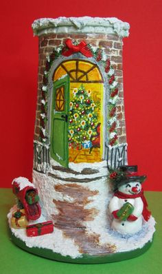 Omino di neve mail di Paola Verderio All Things Christmas, Christmas Crafts, Clay Houses, Paper Models, Xmas Decorations, Dollhouse Miniatures, Gingerbread, Handmade, Decopage