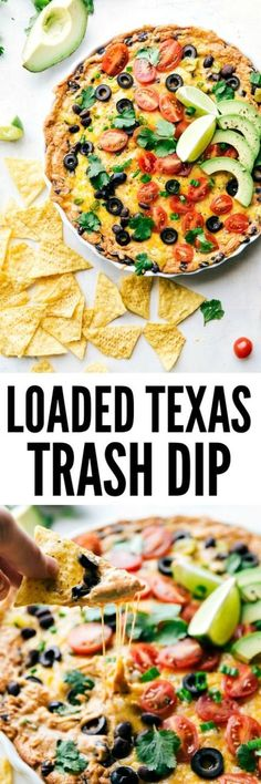 Texas Trash Dip Loaded Texas Trash dip is the classic warm bean dip that gets loaded with corn, olives, black beans, and ooey gooey cheese! This dip will be the hit at your next party!Texas Rangers Texas Rangers may refer to: Appetizer Dips, Yummy Appetizers, Appetizer Recipes, Dip Recipes, Mexican Food Recipes, Cooking Recipes, Mexican Dips, Party Recipes, Snack Recipes