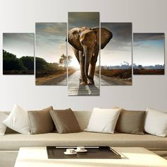 Large Wall Decor Modern Paintings 5 Panels WALL ART Elephant Painting Landscape Canvas Prints Quality For Living Room Decoration,High Quality print bra,China printed decorative paper Suppliers, Cheap decorative wall prints from Your Unique Decoration on A Elephant Wall Art, Elephant Canvas, Elephant Poster, Wild Elephant, Home Decor Paintings, Art Decor, Modern Paintings, Decor Ideas, Art Ideas