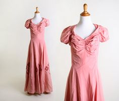 Like 30's lines ,seams, bust gathers, without collar or puff sleeves, ALady . Vintge 1930s Dress  Sweet Dusty Rose Pink Princess Ball by zwzzy, $85.00