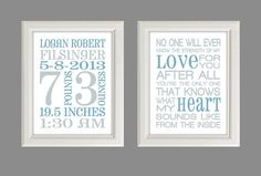 "Nursery Art Print - Baby Boy Nursery Decor - Baby Birth Stats -  Gray And Blue - Set Of Two 8X10"" Prints"