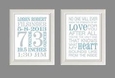 "Nursery Art Print - Baby Boy Nursery Decor - Baby Birth Stats - Gray And Blue - Set Of Two 8X10"" Prints"
