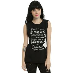 Disney Alice In Wonderland Mad Secret Girls Muscle Top ($22) ❤ liked on Polyvore featuring tops, tank tops, alice, disney, lace trim tank top, macrame top, disney tank top and cat print top