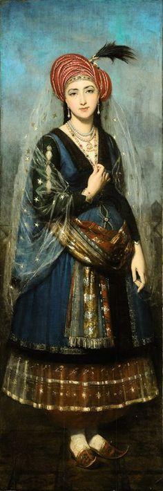 Elegant woman in Ottoman costume , French school, 19th century