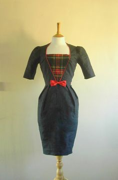 Navy and Red Tartan Wiggle Dress - Made by Dig For Victory. (not a good shape on my figure, but I'l always wanting them!)