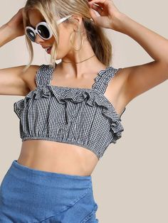 Shop Frill Detail Thick Strap Crop Gingham Top online SheIn offers Frill Detail Thick Strap Crop Gingham Top & more to fit your fashionable needs - Under Wear Blouse Styles, Blouse Designs, Summer Tank Tops, Cute Tops, Diy Clothes, Fashion Outfits, Womens Fashion, Gingham, What To Wear