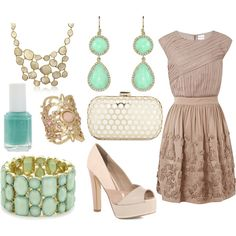 2 bracelets and a necklace seem a bit much, but the earrings are fab and the dress and shoes are perfection.