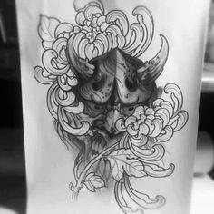 Japanese Demon Tattoo, Chinese Dragon Tattoos, Oni Tattoo, Hanya Tattoo, Leg Sleeve Tattoo, Japanese Tattoo Designs, Oriental Tattoo, Masks Art, Artwork Design