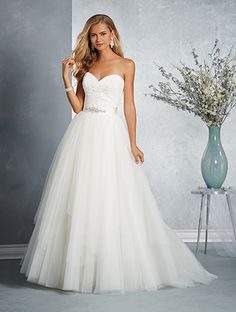 Alfred Angelo Style 2606: two piece wedding dress featuring strapless sweetheart sheath and detachable tulle ball gown skirt